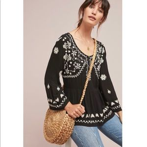 Anthro Meadow Rue Embroidered Boho peasant Blouse